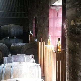 Sun shining on Glen Moray Whisky warehouse